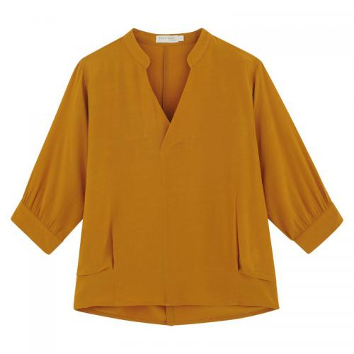 See u Soon - Blouse unie ample manches 3/4 femme See U Soon - Jaune - Promotions