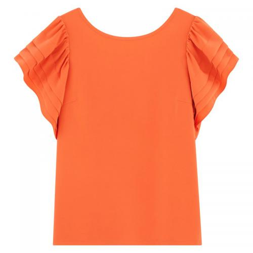 See u Soon - Blouse manches papillon femme See U Soon - Orange - Blouse / Chemise