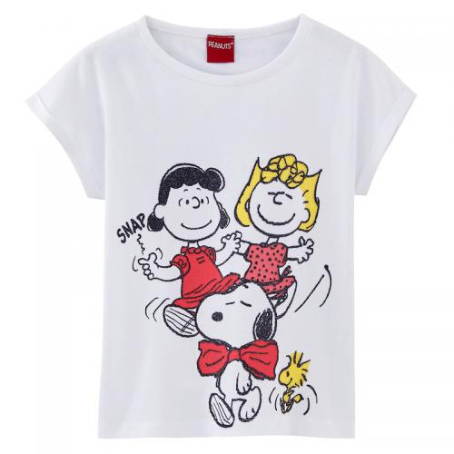 194a14a8be156 Snoopy - Tee-shirt manches courtes fille Snoopy - Blanc - T-shirt