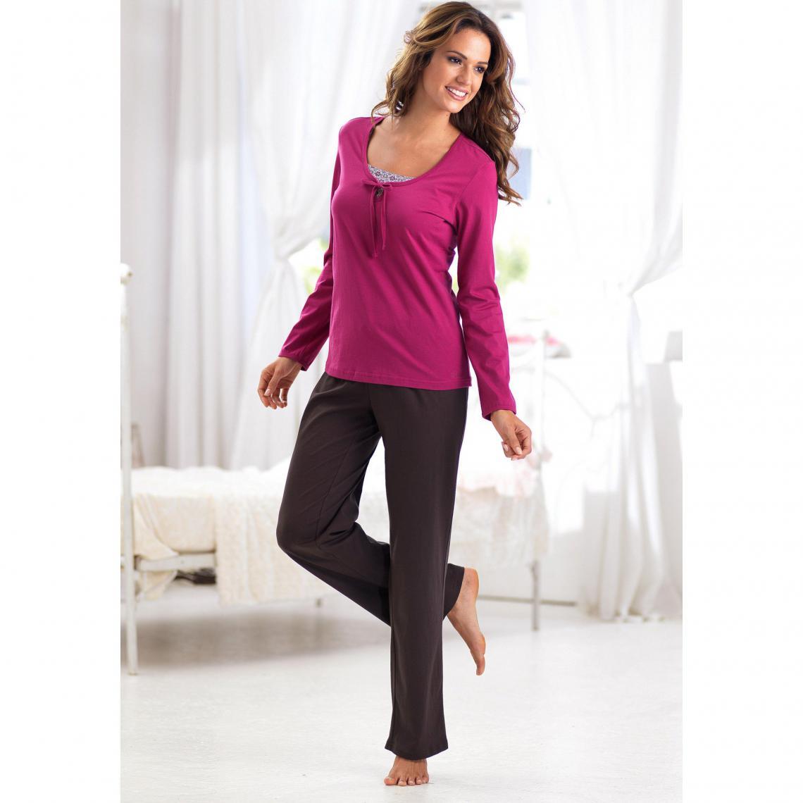 tout neuf fe2e0 9df45 Pyjama manches longues en coton femme S. Oliver - Violet | 3 ...
