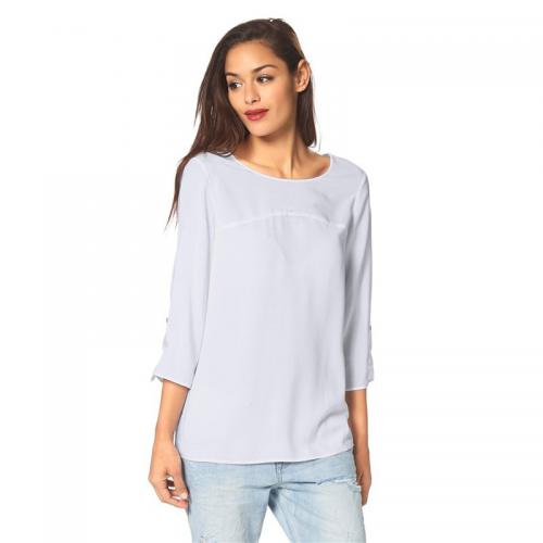 S.Oliver - Blouse manches 34 retroussables col rond femme S.Oliver - Blanc - S.Oliver