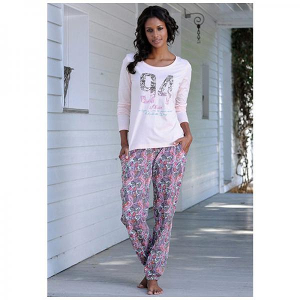 Pyjama fantaisie manches longues col rond femme s.Oliver - Rose S.Oliver Lingerie femme