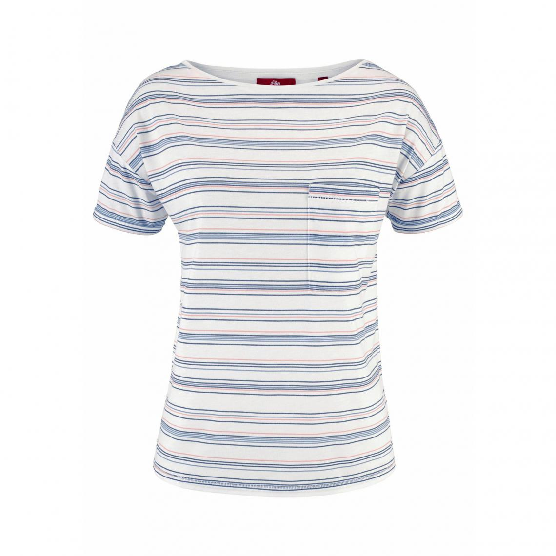 T-shirt rayé manches courtes col rond femme Red Label S.Oliver - Rayé 0ac60011607a