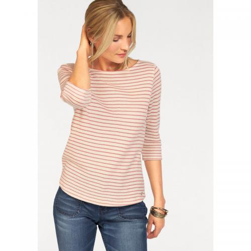 S.Oliver - Pull rayé col rond manches 34 femme S. Oliver Red Label - Beige - S.Oliver