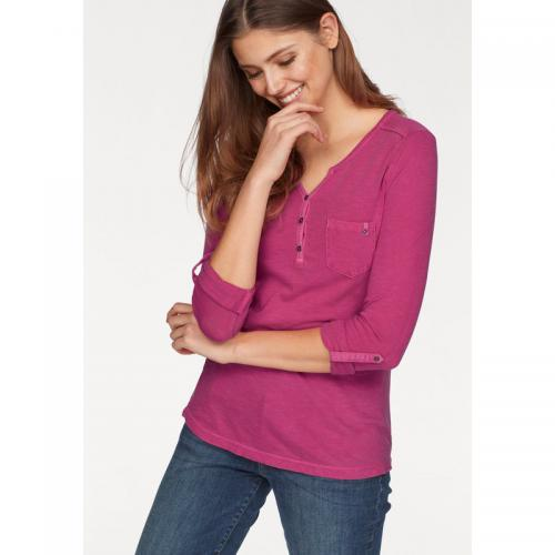 S.Oliver - T-shirt col tunisien manches longues femme S. Oliver - Rose Vif - T-shirts manches longues femme