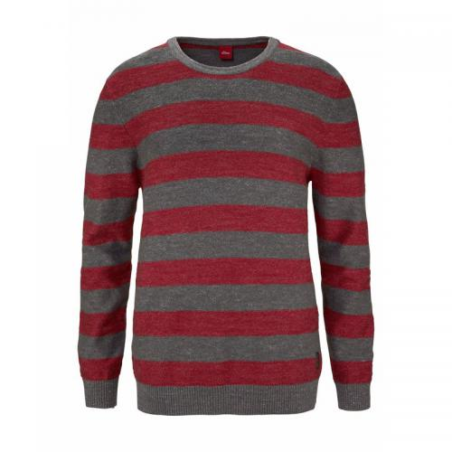 Pull rayé manches longues en maille homme S. Oliver - Rouge - Gris S.Oliver