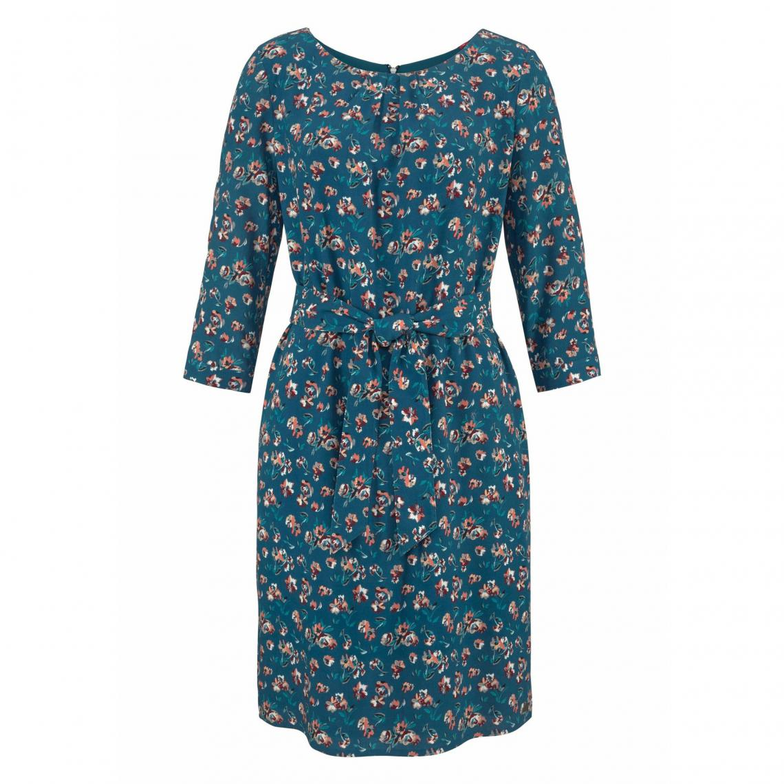 Robe imprimée manches 3 4 femme S. Oliver - Bleu - Vert   3Suisses bfdeb845c06d