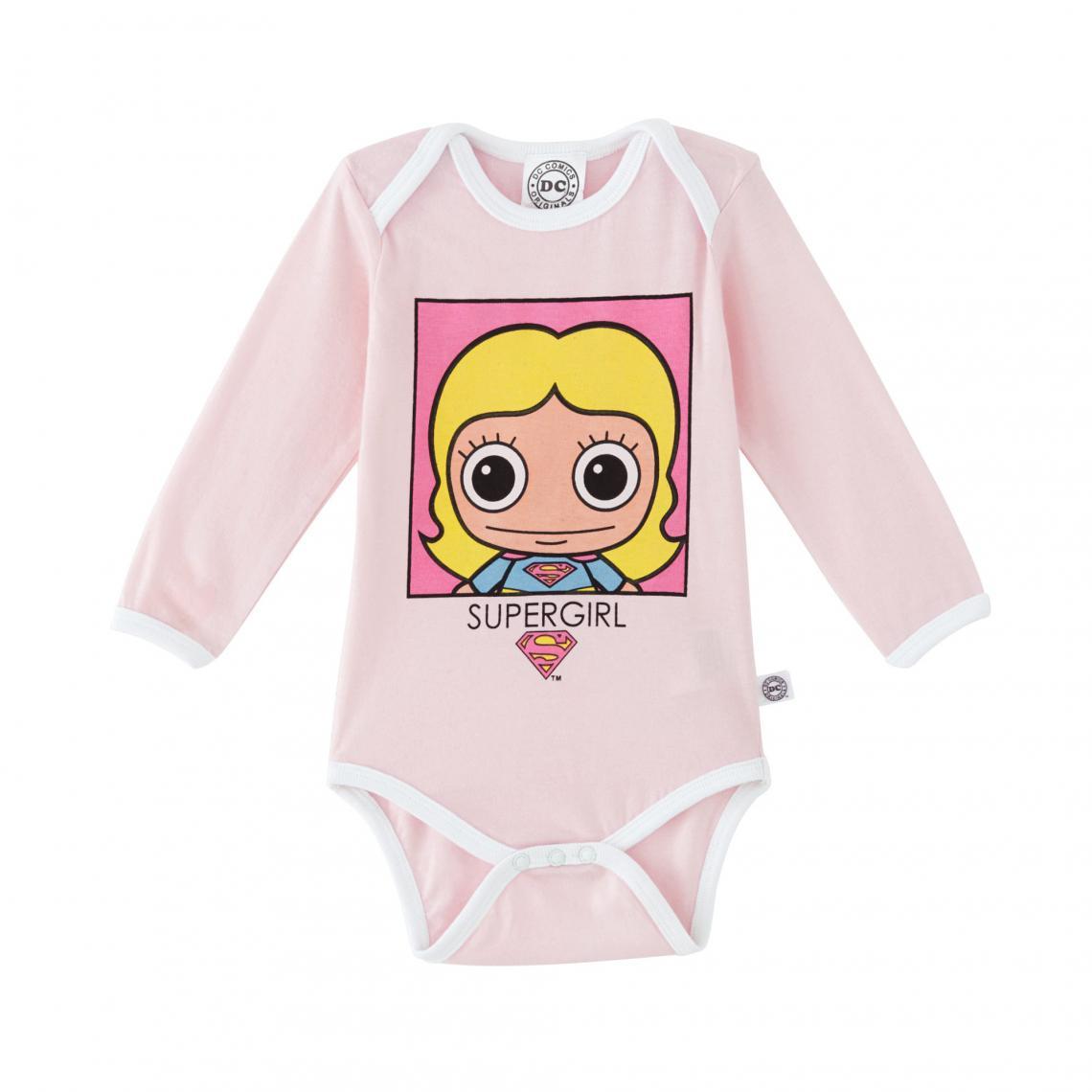 Body coton manches longues bébé fille Supergirl - Rose Supergirls Enfant b2ebbc983bc