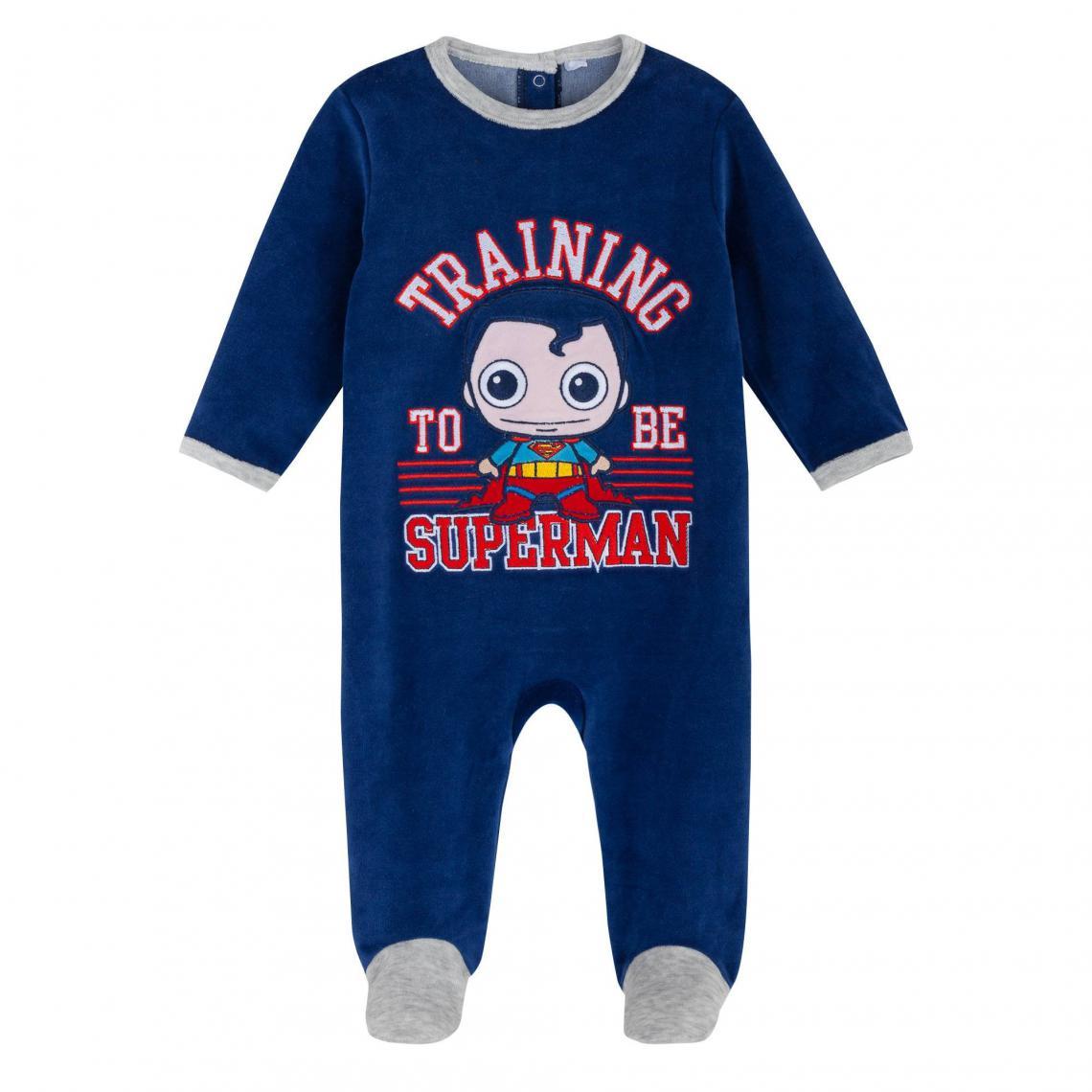 Dors-bien velours brod� b�b� gar�on Superman - Bleu - 3Suisses