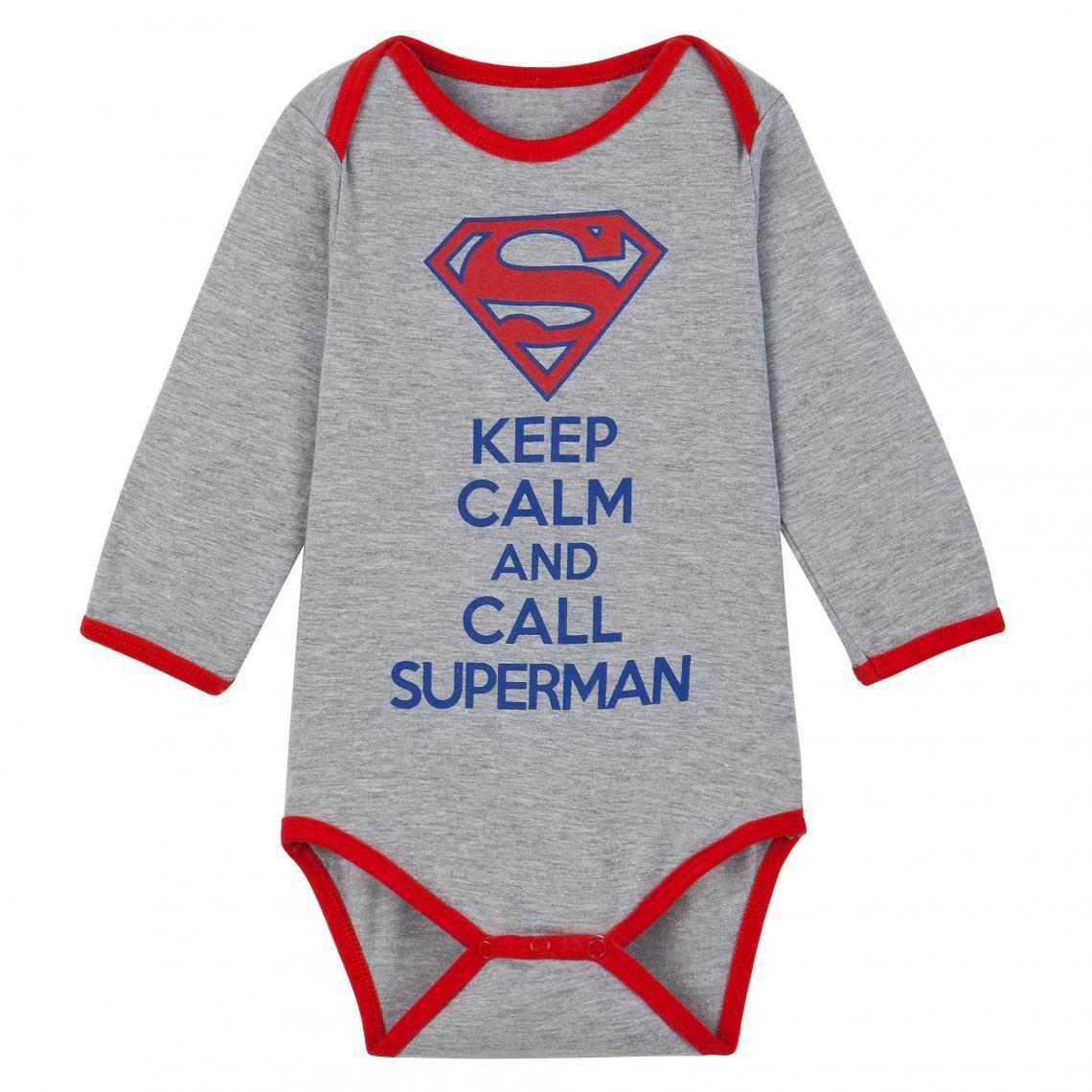 dd22cbb71b4b6 Body à manches longues bébé garçon imprimé Superman - Gris Superman Enfant