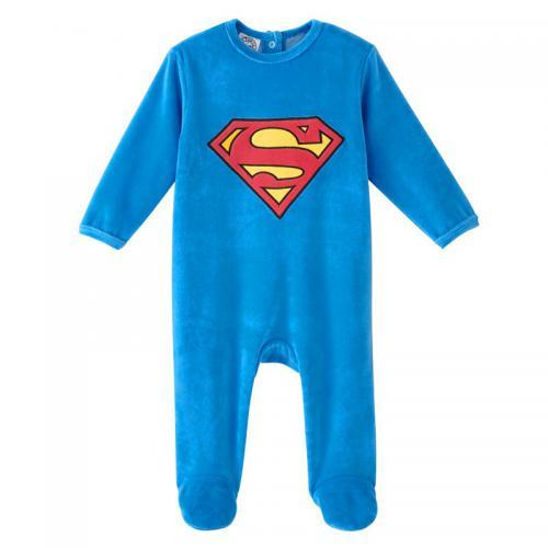cafc6f6fce1ea Superman - Dors bien velours bébé garçon Superman - Bleu - Pyjama