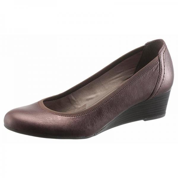où acheter chaussures de séparation bonne vente de chaussures Escarpins à talon compensé femme Tamaris - marron foncé métallique 4 Avis