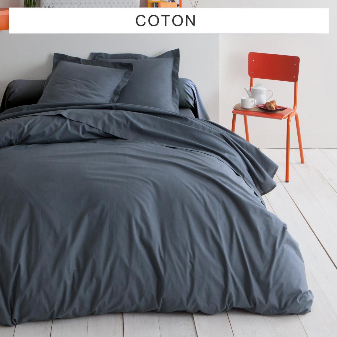 housse de couette unie coton tertio gris anthracite 3. Black Bedroom Furniture Sets. Home Design Ideas