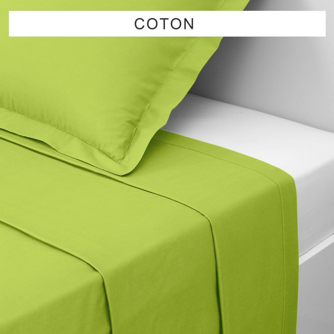 Drap plat coton TERTIO® - vert anis JfoM0
