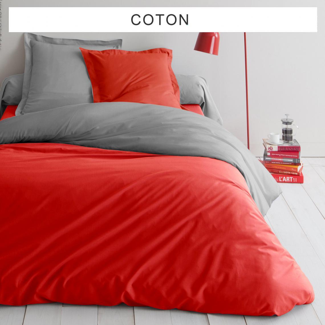 Housse de couette coton tertio gris rouge 3 suisses - Housse de couette grise et rouge ...