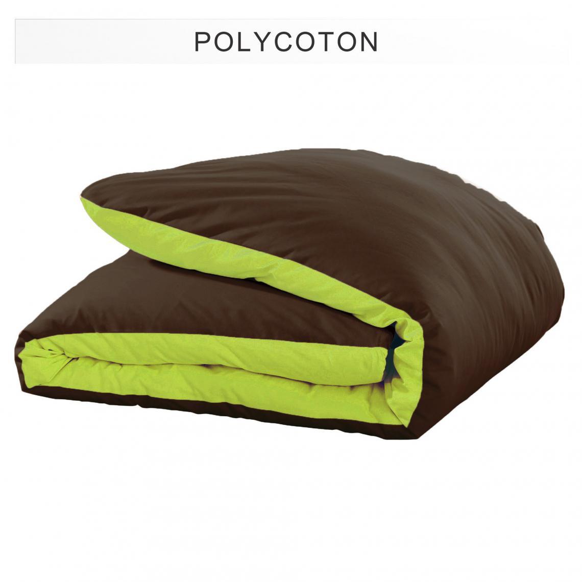 Chambre Chocolat Et Vert Anis housse de couette polycoton tertio® - vert anis/chocolat 2 avis plus de  détails