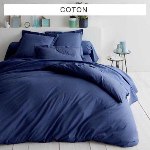 Tertio - Housse de couette unie coton TERTIO® - Bleu Indigo - Housse de  couette e50f9cba3d1a