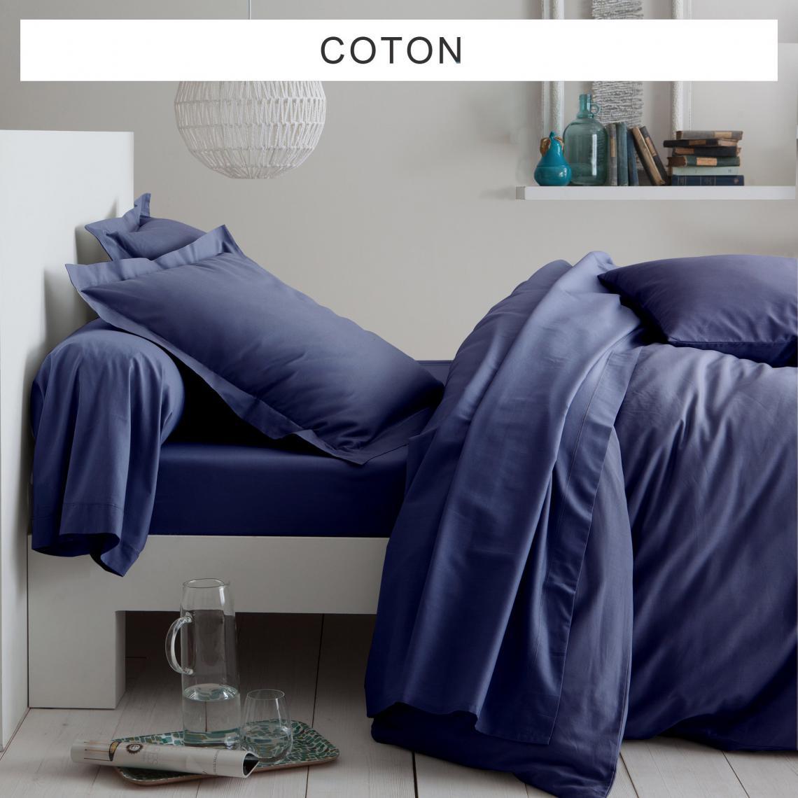 Tertio Linge De Maison.Drap Plat Uni Coton Tertio Bleu Indigo 3 Suisses