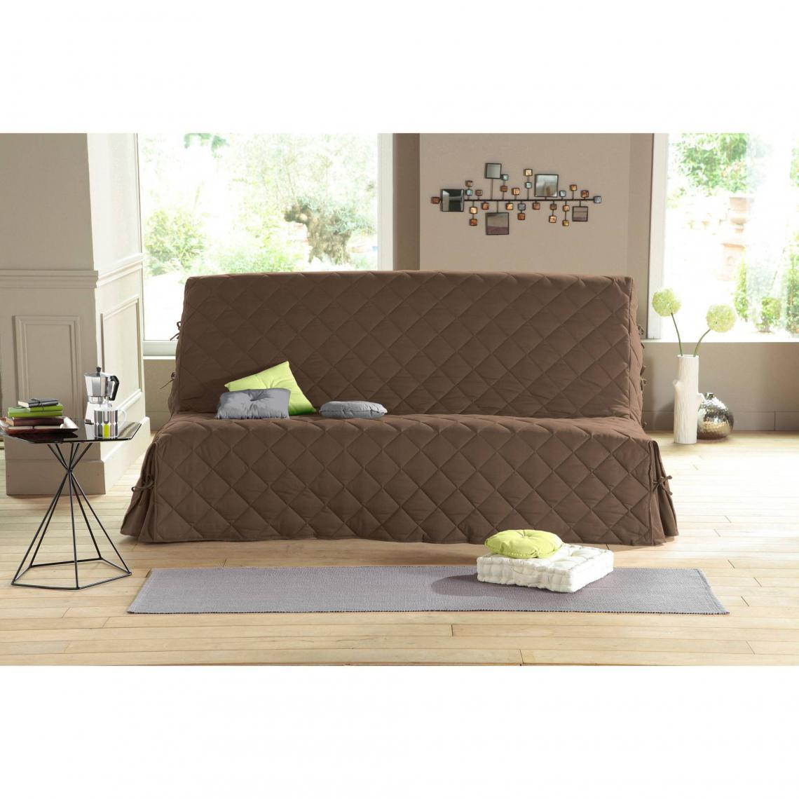 Housse clic clac int grale matelass e tirable tertio antitache taupe 3 suisses for Clic clac housse matelassee