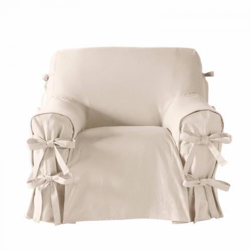 Housse antitache Tertio® à nouettes pour fauteuil et canapé à accoudoirs -  ÉCRU