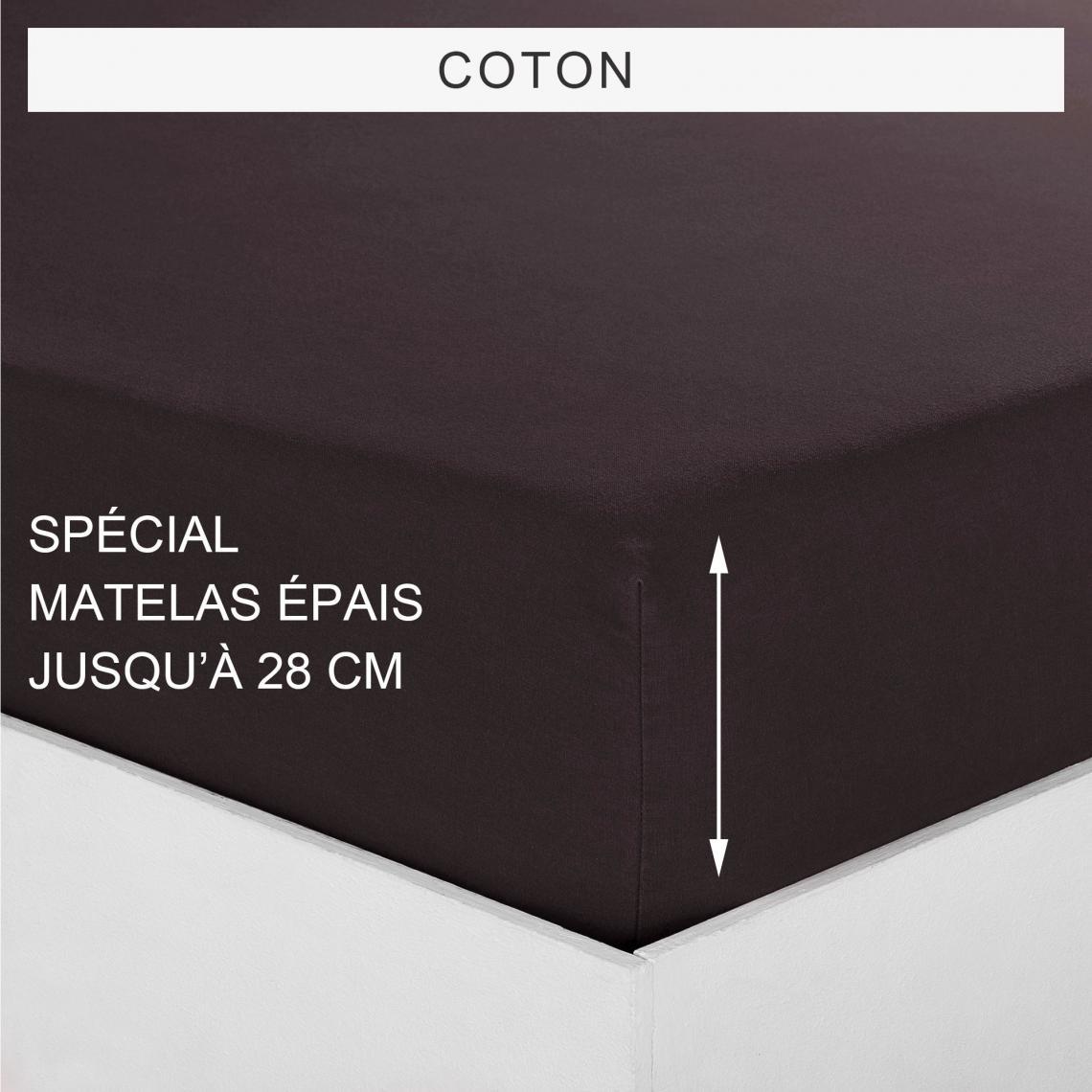 Drap housse uni spécial matelas épais coton Tertio®   wengé | 3