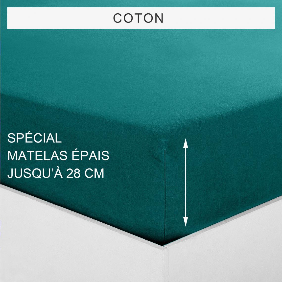 Drap housse uni spécial matelas épais coton Tertio®   Vert Foncé