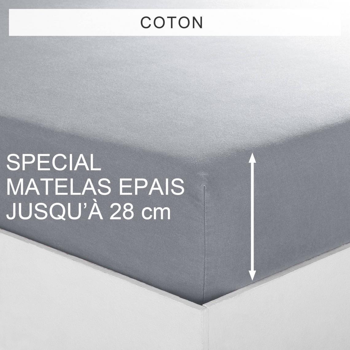 Drap housse uni spécial matelas épais coton Tertio®   Gris | 3 SUISSES