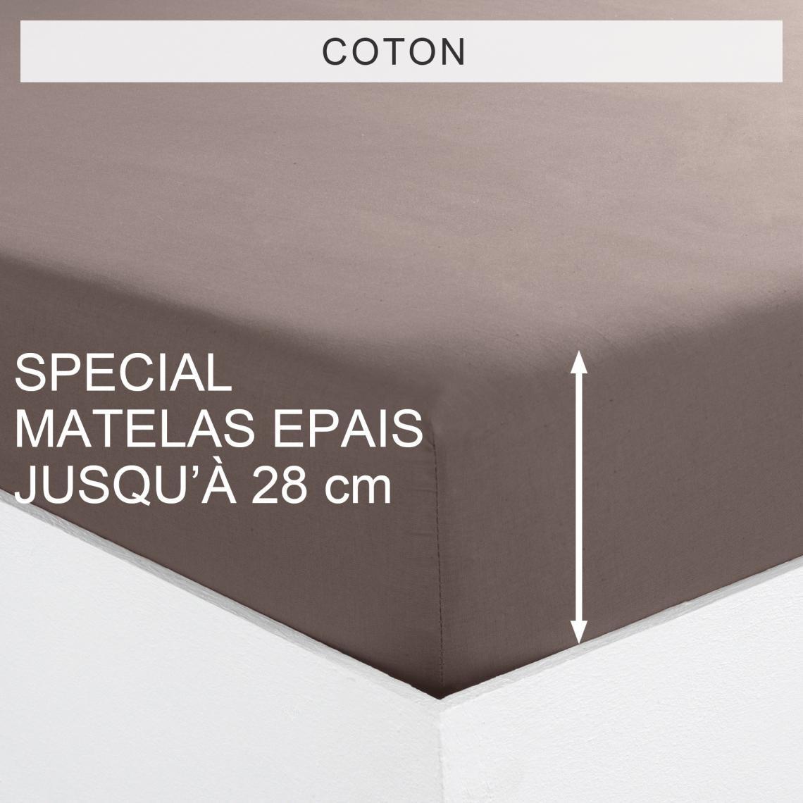 Drap housse uni spécial matelas épais coton Tertio®   Taupe | 3