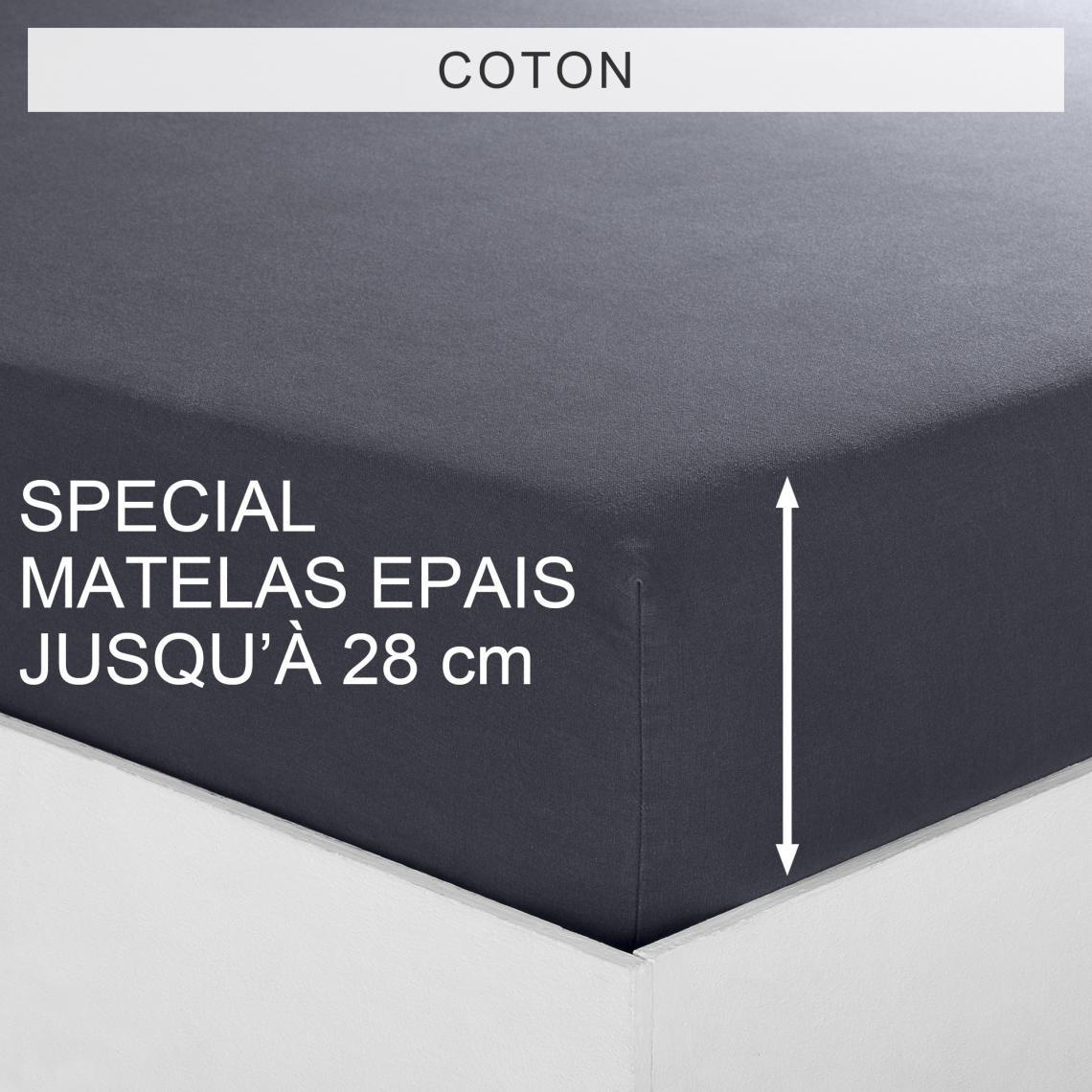 Drap-housse uni spécial matelas épais coton