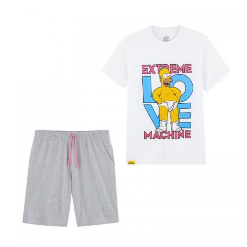 The Simpsons - Pyjama short jersey homme Simpson - Blanc - Sous-vêtements homme