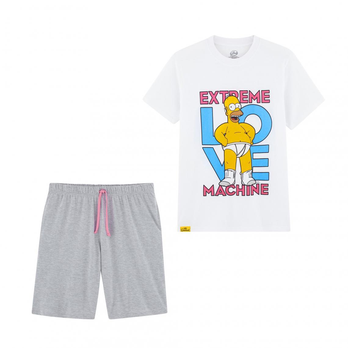 Pyjama short jersey homme Simpson - Blanc - 3Suisses