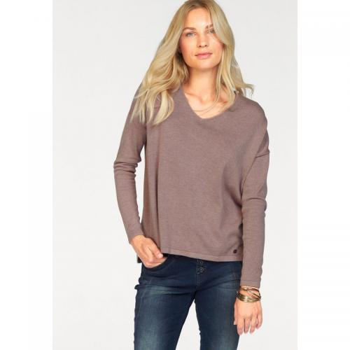 Tom tailor - Pull col rond manches longues maille fine femme Tom Tailor - Violet - Promotions