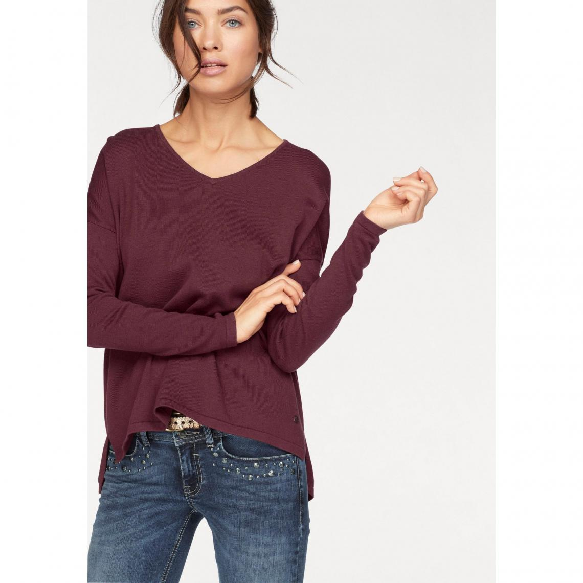 693167d3fd4b Pull col rond manches longues maille fine femme Tom Tailor - Rouge Tom  tailor Femme