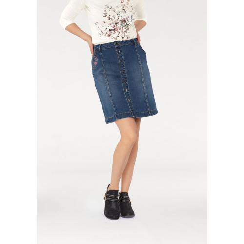 Tom tailor - Jupe jean brodée femme Tom Tailor - Multicolore - Jean et denim