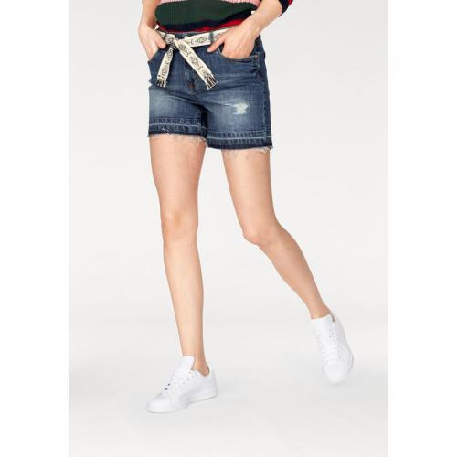 Tom tailor - Short court denim effet destroyed femme Tom Tailor Denim - Bleu Used - Jean et denim bas femme