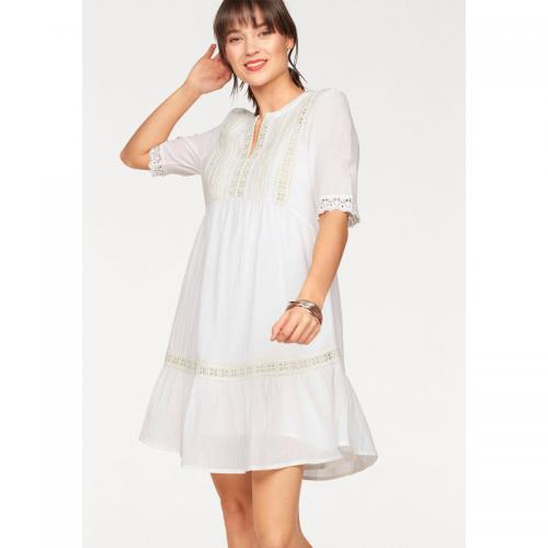 Tom tailor - Robe encolure tunisienne manches courtes femme Tom Tailor Denim - Blanc Mat - Robe habillée