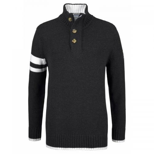 Pull col camionneur manches longues en maille homme Tom Tailor Polo Team - gris anthracite / chiné Tom tailor
