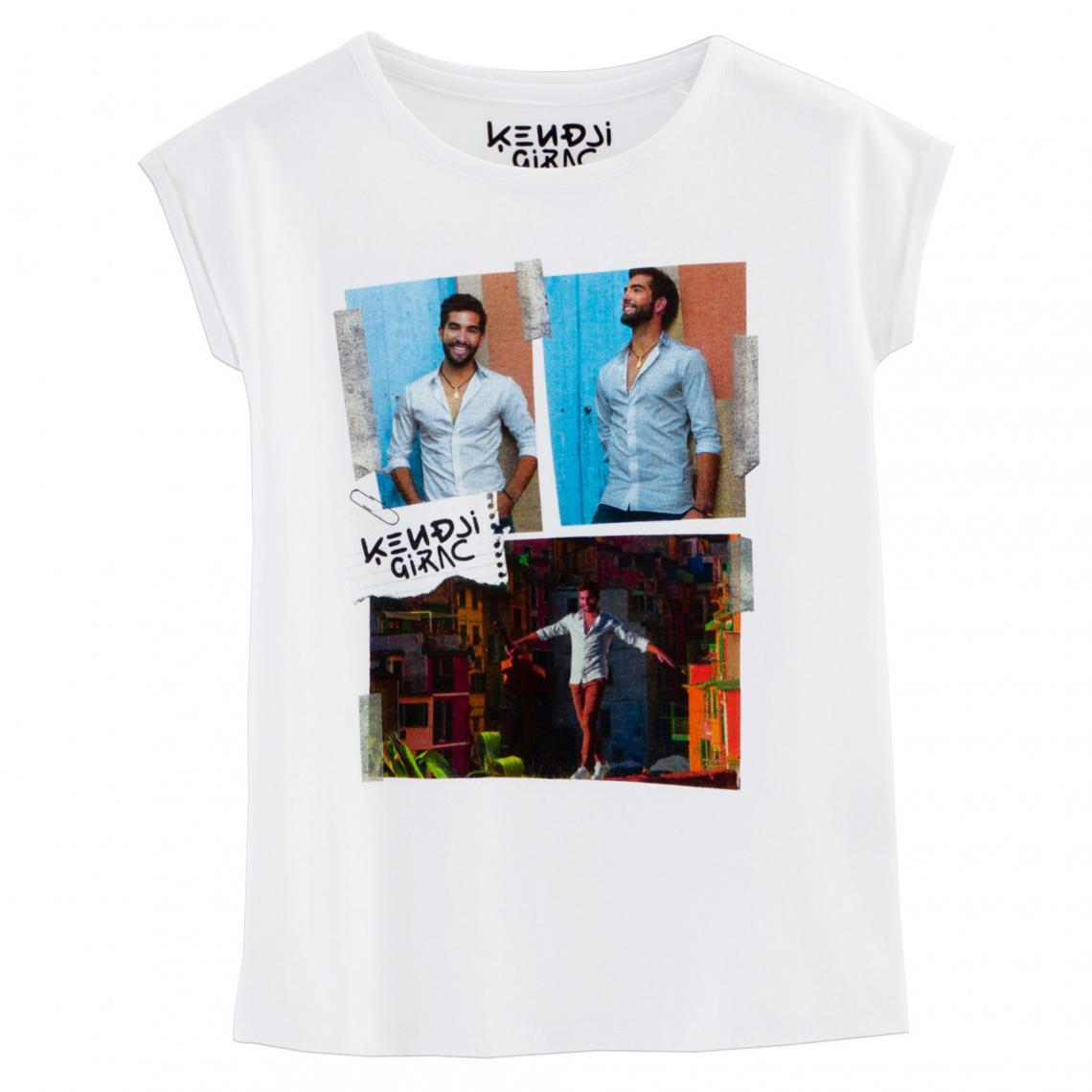 bd1a7e934abb9 T-Shirt Kendji Girac à manches courtes fille Universal - Blanc Universal  Music Enfant
