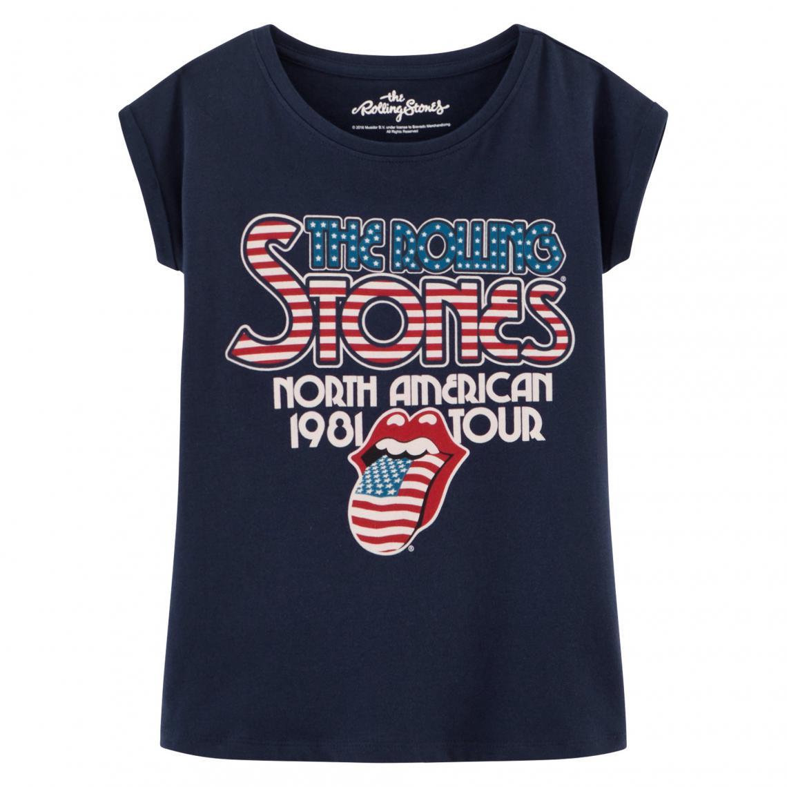 fa71379c93fb1 T-shirt manches courtes col rond fille imprimé Rolling Stones Universal -  Bleu Universal Music