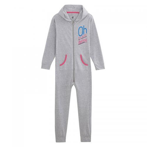 c88f4d8b2c6dd Universal Music - Pyjama combinaison 1 pièce à capuche fille - Gris - Pyjama