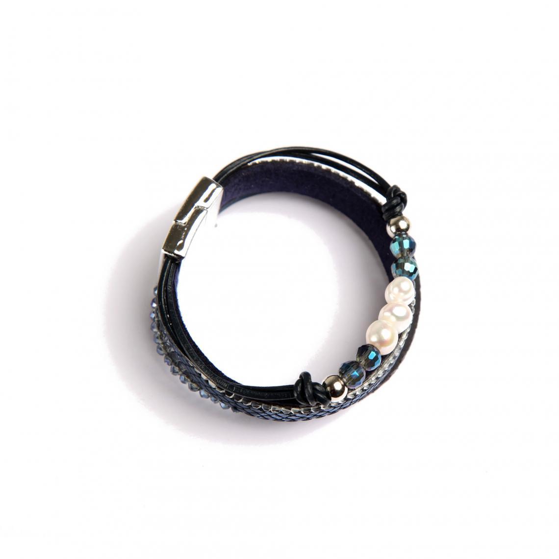 Bracelet avec perles fantaisie multicolores femme - Bleu Marine