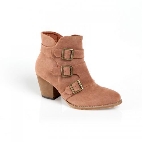 d24c923532039 Venca - Bottines zippées à talon 3 lanières et boucles femme - Camel - Chaussures  femme