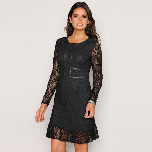 e25c397bf6d4 Venca - Robe de soirée manches longues et volant en dentelle femme - Noir -  Robes