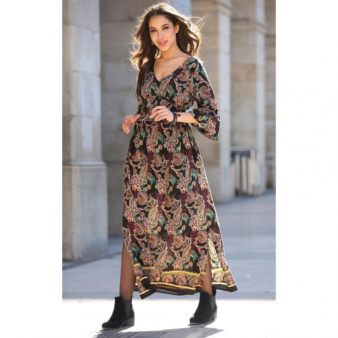36d77feb2fd Robe longue imprimée manches 3 4 volantées femme - Imprimé Noir Venca Femme
