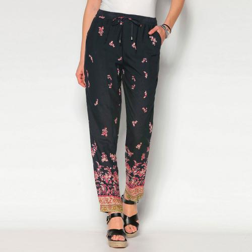 8ff183cb42c Venca - Pantalon imprimé taille élastique et cordons femme - Imprimé Noir - Pantalons  imprimés femme