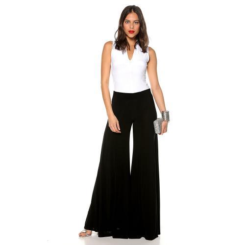 Venca - Pantalon maille élastique jambes larges évasées femme - Pantalons  femme a26ae3ec2b8