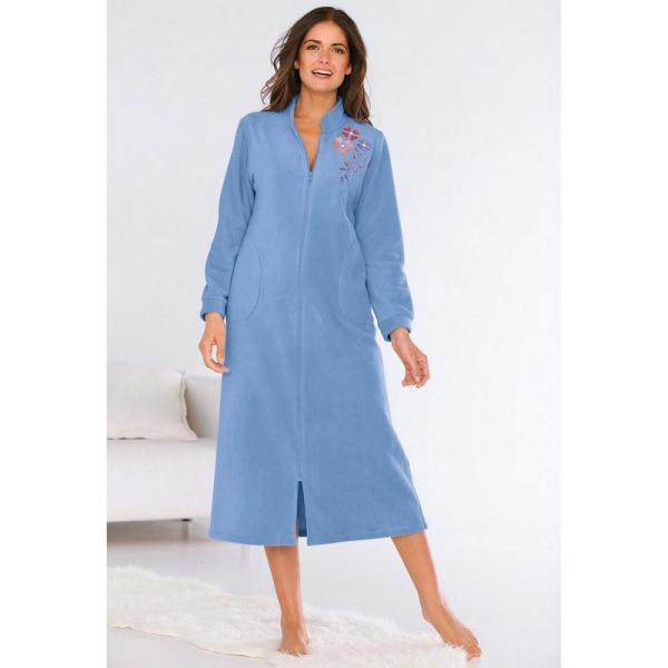 Robe de chambre polaire zippée avec broderie femme - Bleu Lavande