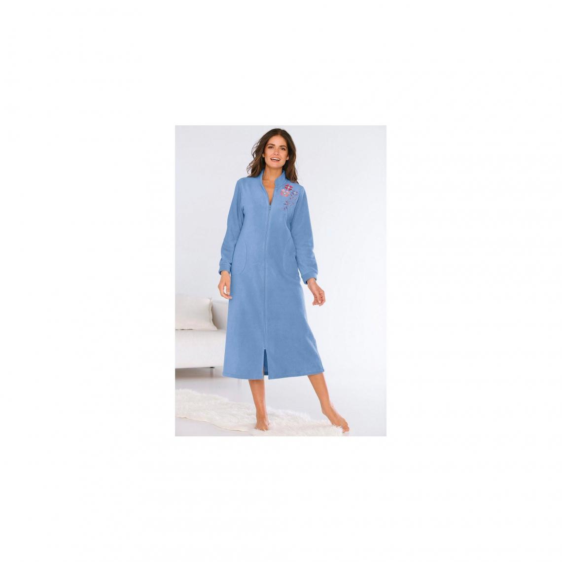 Broderie De Femme Lavande Avec Zippée Bleu Chambre Polaire Robe FwxaznUz