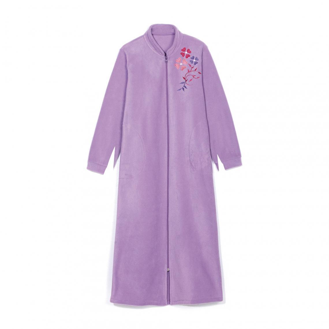 Robe De Chambre Polaire Zippée Avec Broderie Femme Lilas