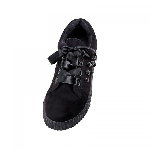 Venca - Baskets oeillets ovales et lacets en satin femme - Noir - Baskets
